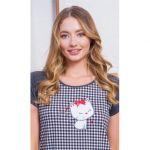Dámská noční košile s krátkým rukávem Kotě s mašličkou. - Velikost M VIENETTA SECRET