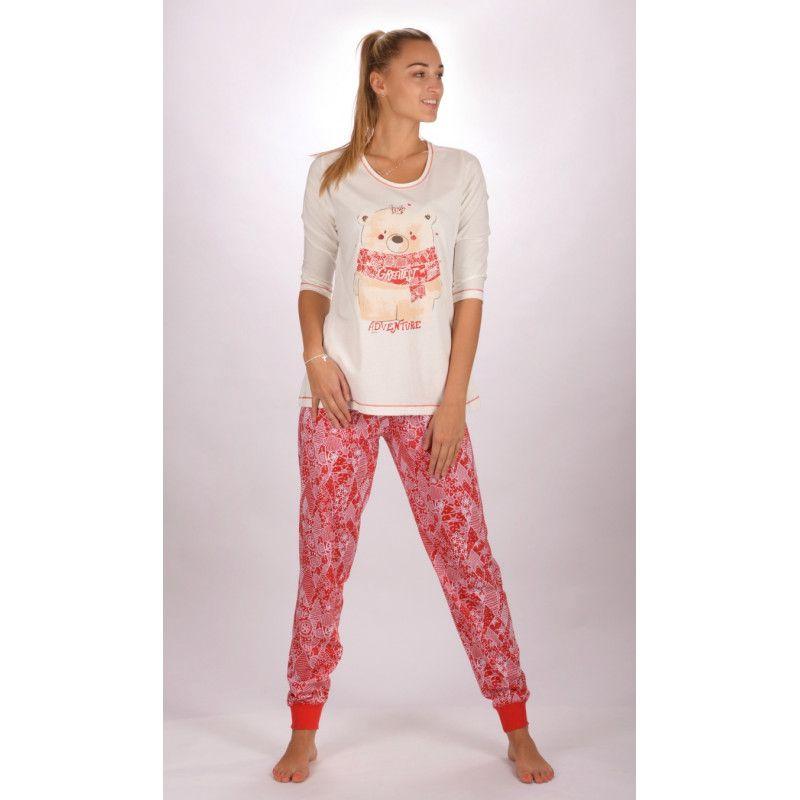 Dámské dlouhé bavlněné pyžamo Adventure VIENETTA SECRET