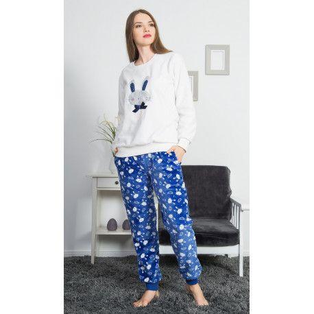 Dámské pyžamo dlouhé Králík s mašlí. VIENETTA SECRET