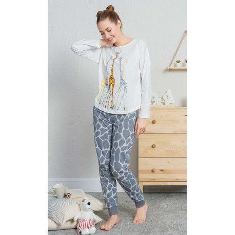 Dámské pyžamo dlouhé Žirafy. VIENETTA SECRET