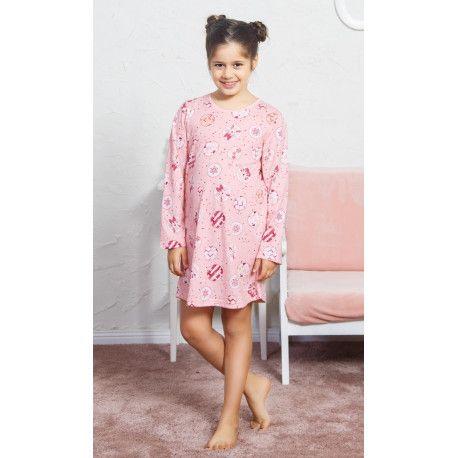 Dětská bavlněná noční košile s dlouhým rukávem Kitty. VIENETTA SECRET