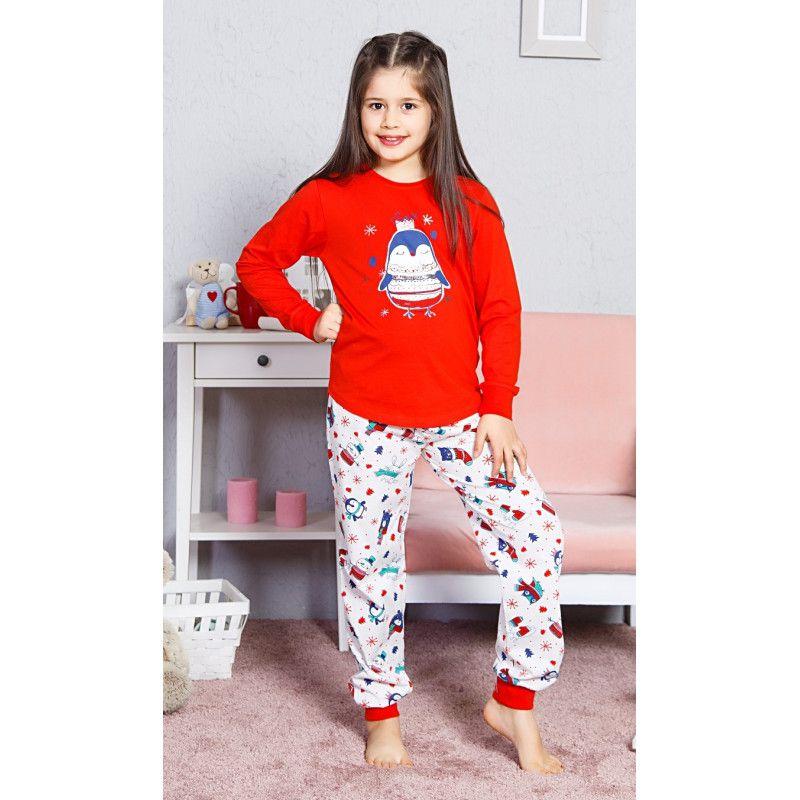 Dětské dlouhé bavlněné pyžamo Tučňák velký VIENETTA SECRET