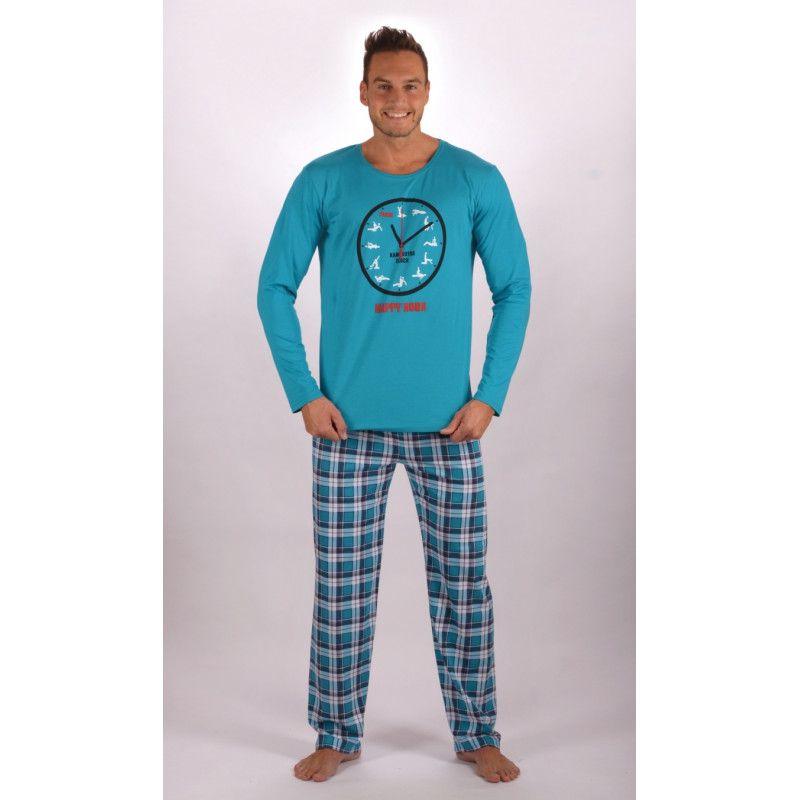 Pánské dlouhé bavlněné pyžamo Kamasutra clock. VIENETTA SECRET